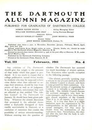 Cover for the February 1911 issue