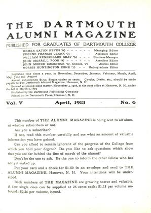 Cover for the April 1913 issue