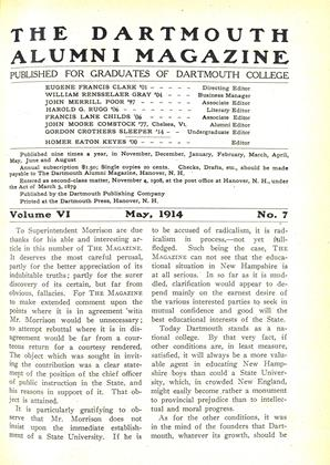 Cover for the May 1914 issue