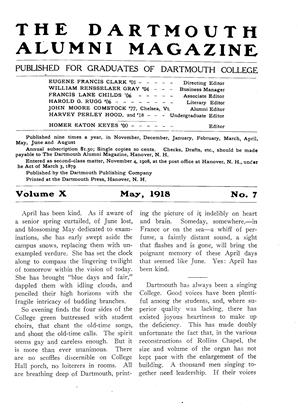 Cover for the May 1918 issue