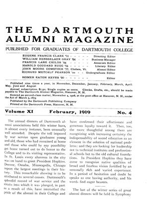 Cover for the February 1919 issue