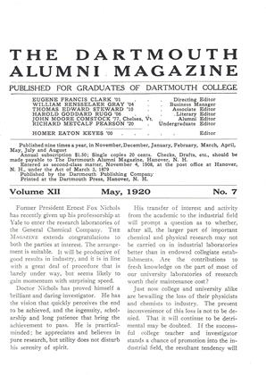 Cover for the May 1920 issue