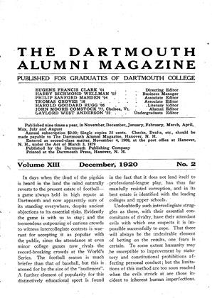 Cover for the December 1920 issue