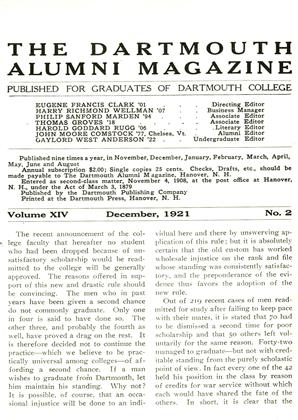 Cover for the December 1921 issue