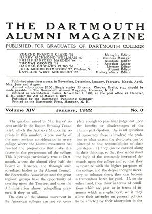 Cover for the January 1922 issue