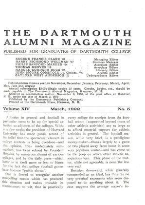 Cover for the March 1922 issue