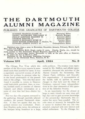 Cover for the April 1924 issue