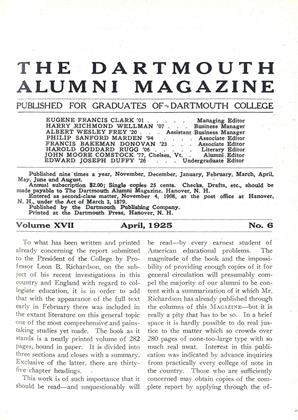 Cover for the April 1925 issue