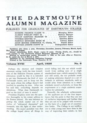 Cover for the April 1926 issue