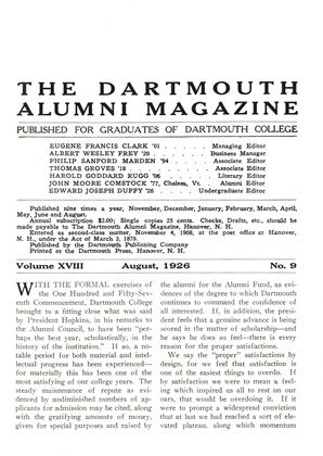Cover for the August 1926 issue