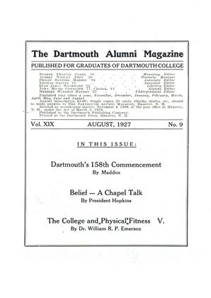 Cover for the August 1927 issue
