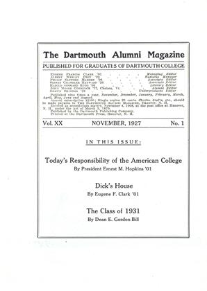 Cover for the November 1927 issue