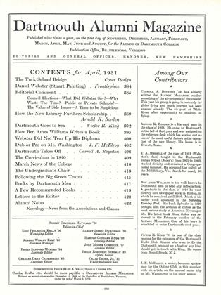Cover for the April 1931 issue